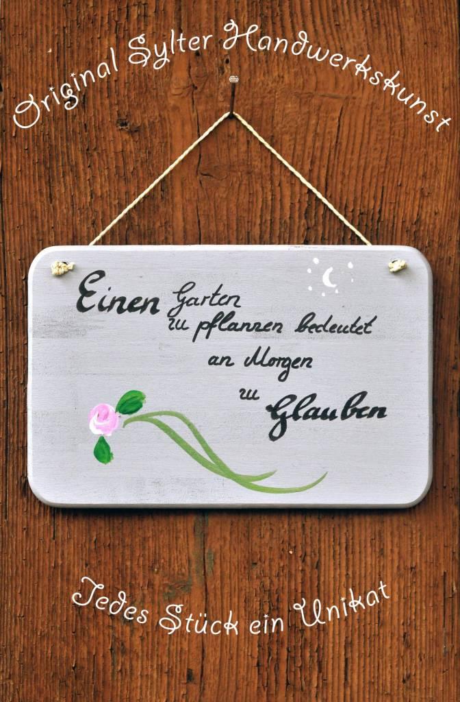 Saat & Gut Handbemaltes Gartenschild 'Glauben'