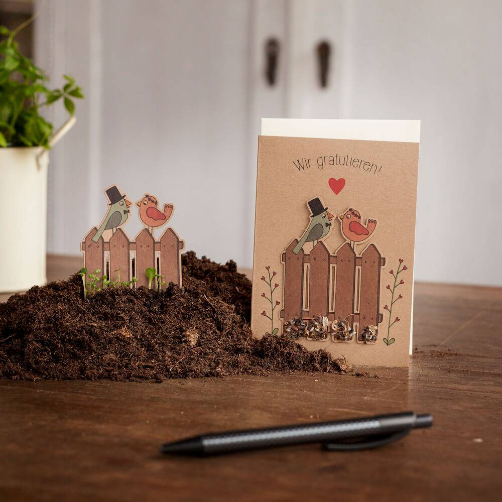 Stadtgärtner Saat-Grußkarte Wir gratulieren! - Vogelhochzeit