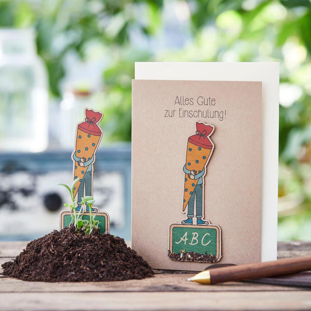 Stadtgärtner Saat-Grußkarte Alles Gute zur Einschulung