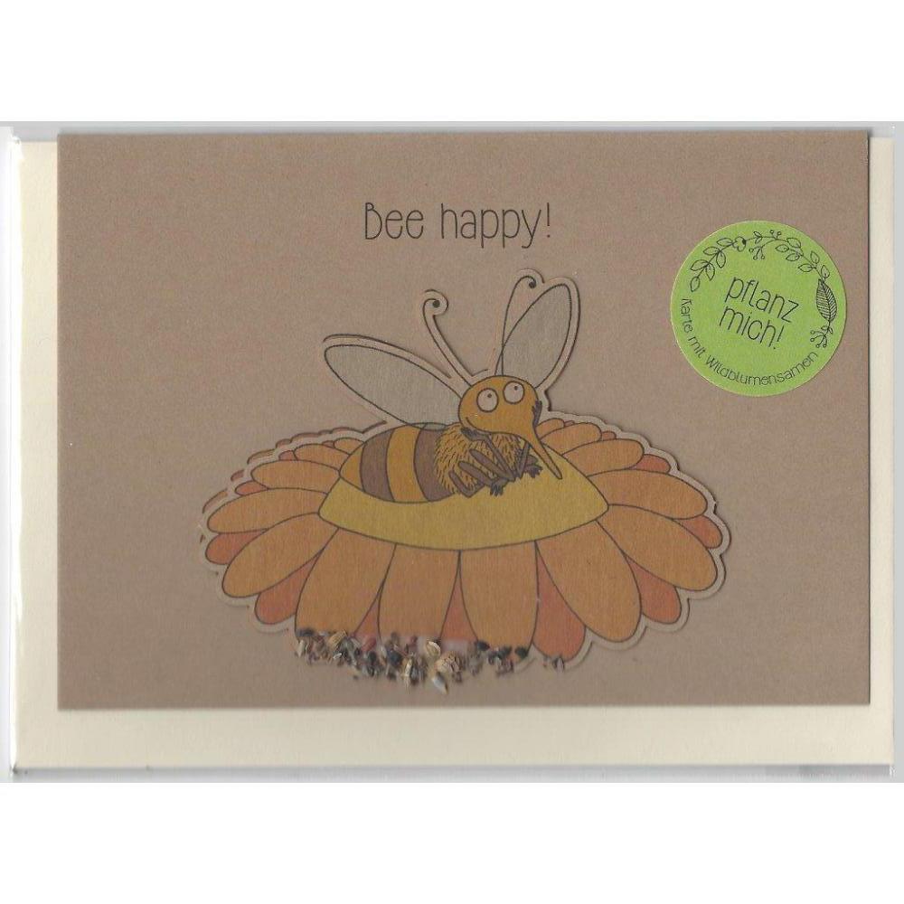 Stadtgärtner Saat-Grußkarte Bee happy