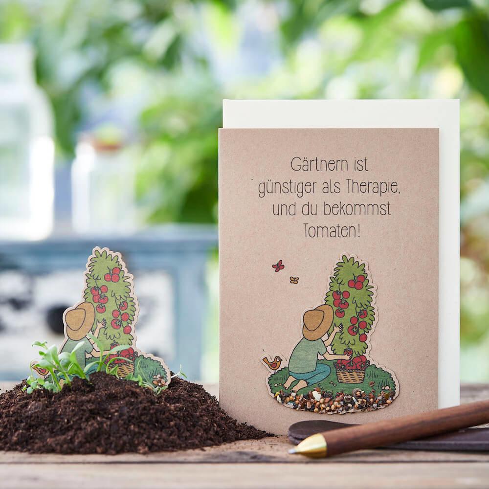 Stadtgärtner Saat-Grußkarte Gärtnern ist günstiger als Therapie