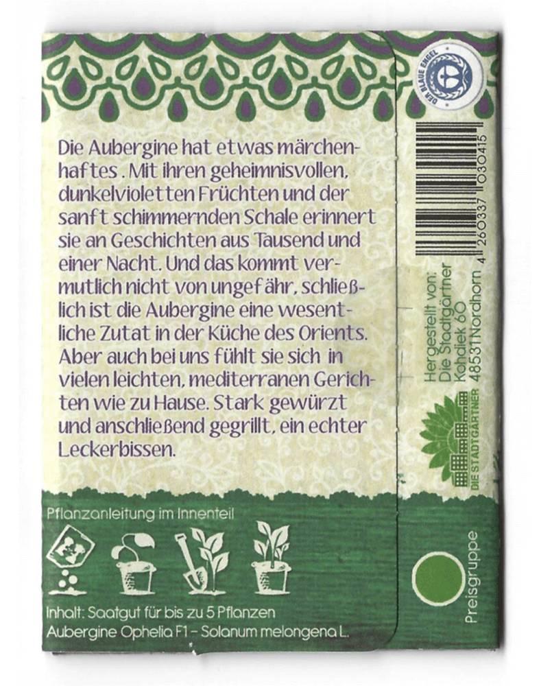 Stadtgärtner Saatgeschwister - Aubergine Anet
