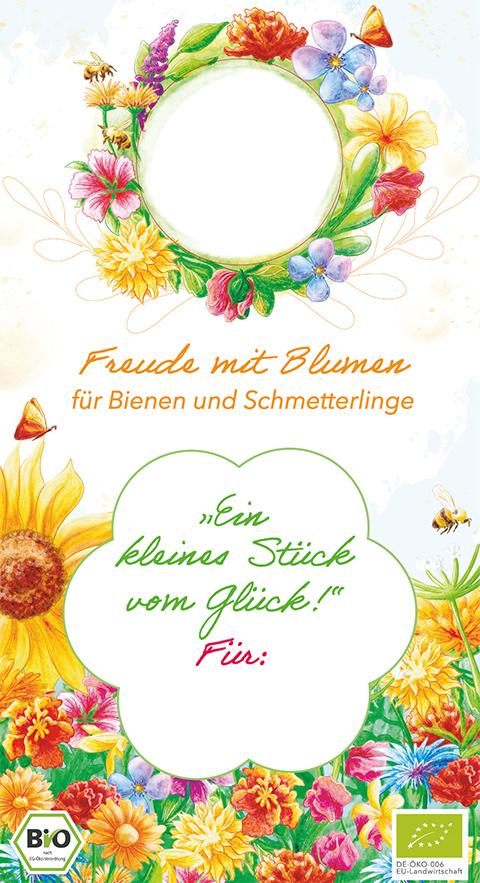 Saat & Gut BIO Geschenkanhänger Bienen- & Schmetterlingsblumen