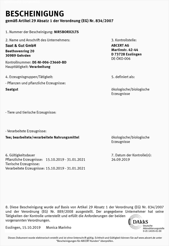 BIO Zertifikat Saat und Gut GmbH