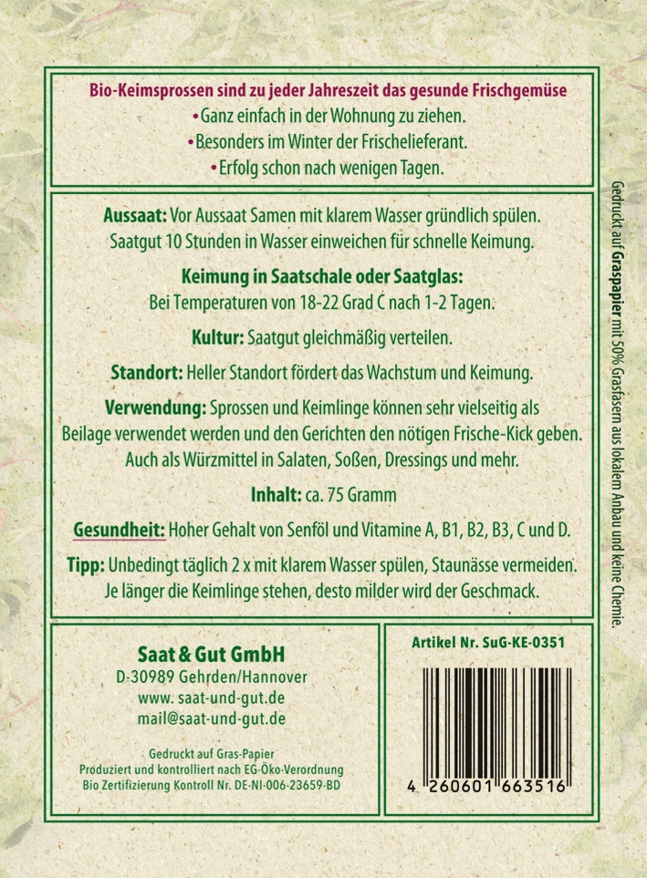 Saat & Gut BIO-Keimsprossen Kresse