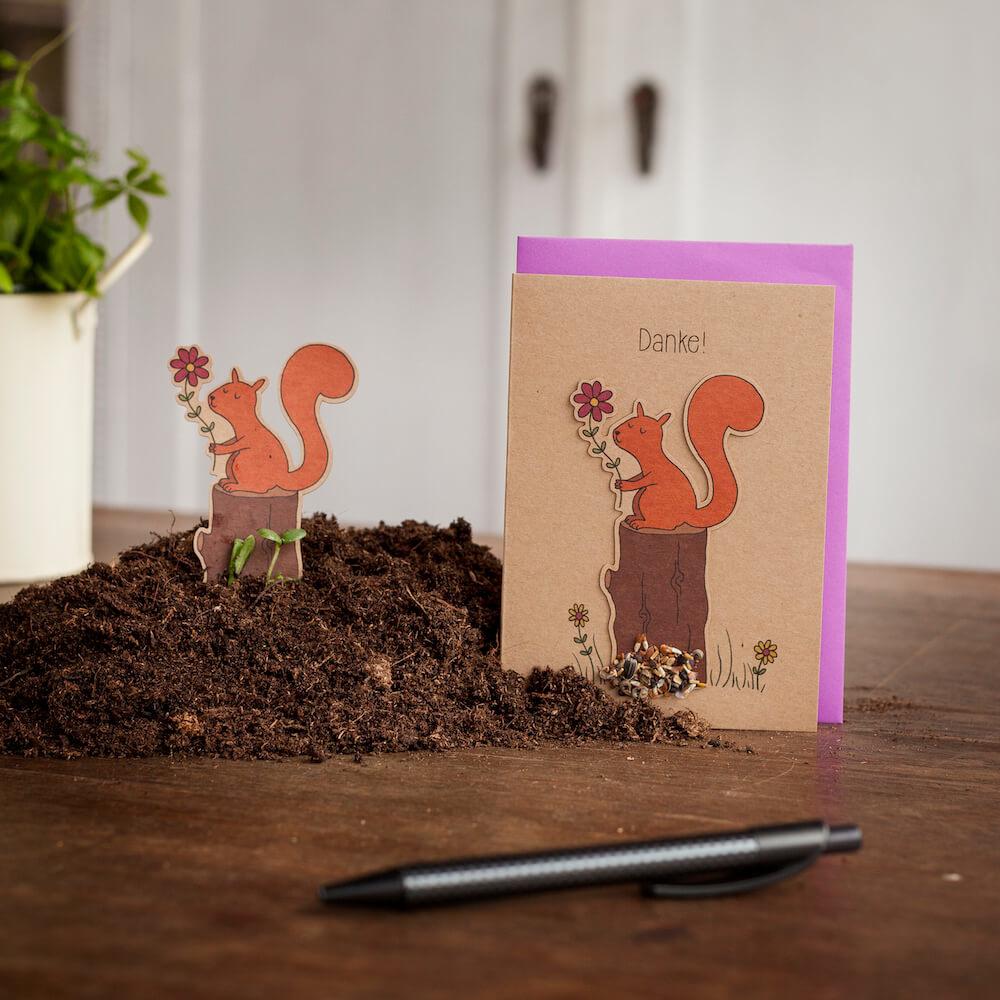 Stadtgärtner Saat-Grußkarte Danke! - Eichhörnchen