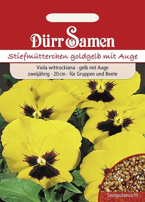 Dürr Samen Stiefmütterchen  Goldgelb mit Auge, zweijährig, 20cm