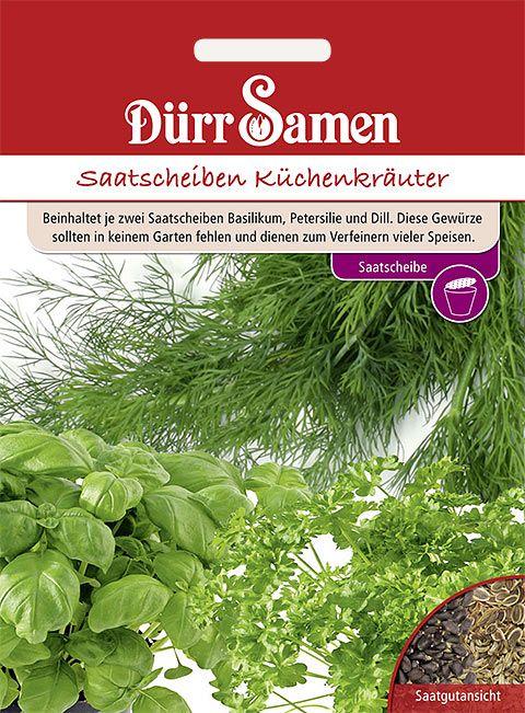 Dürr Samen Saatscheiben Küchenkräuter (Basilikum, Petersilie, Dill)