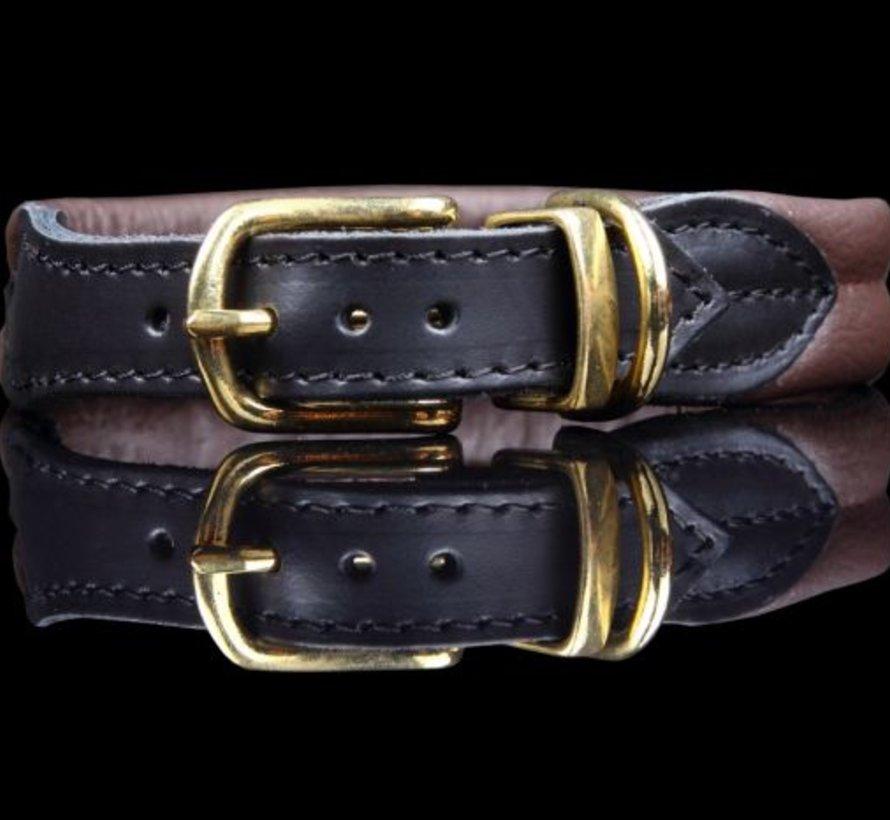 Leren hondenhalsband bruin soft/messing