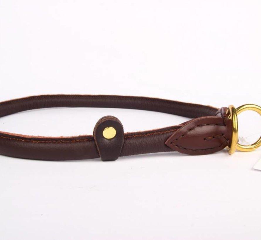 Leren honden sliphalsband bruin (messing)