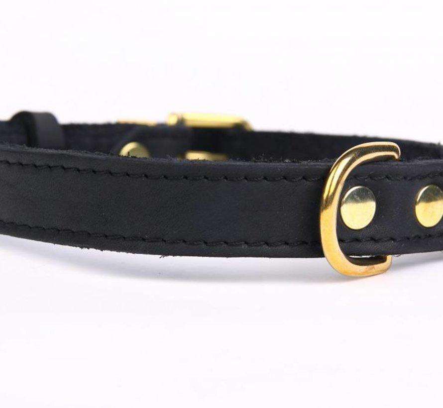 Leren hondenhalsband gold, exclusive