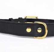 Leren honden halsband (exclusive gold)