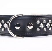 Leren honden halsband met kristallen