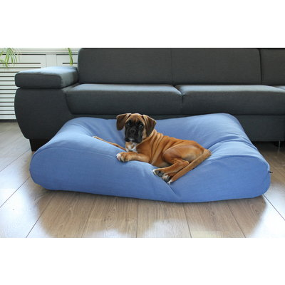 Dog's Companion® Hundebett Manhattan Blau Leinen Medium
