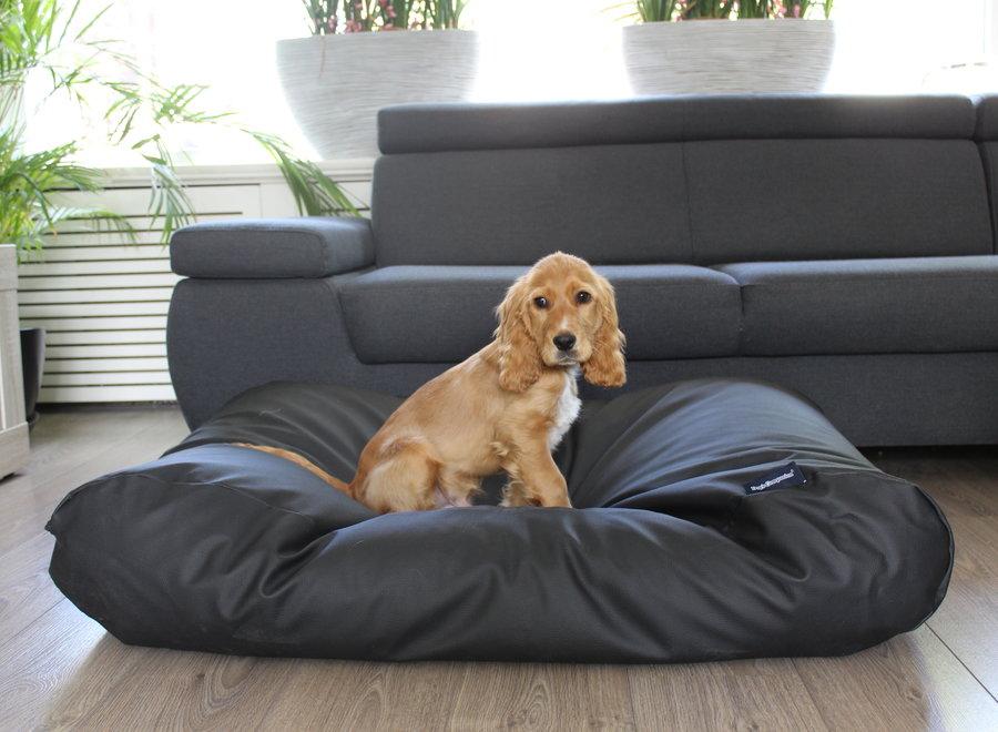 Hundebett Schwarz Leather Look Medium
