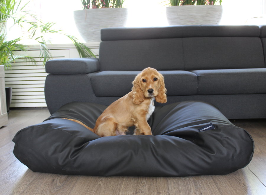 Hundebett Schwarz Leather Look Superlarge
