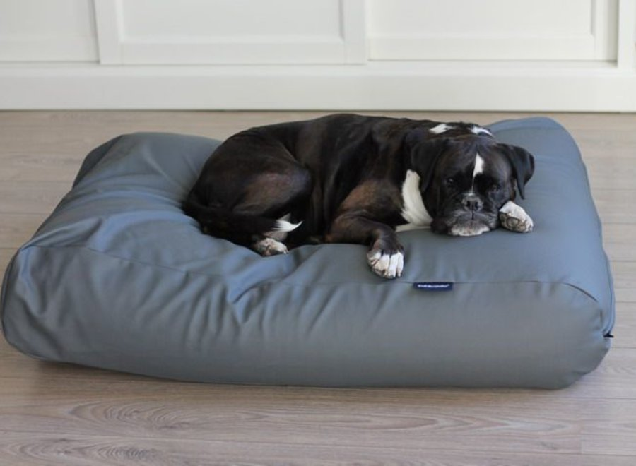 Hundebett Mausgrau Leather Look Medium