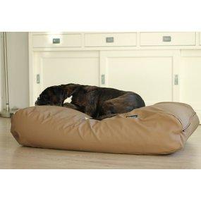 Dog's Companion® Hundebett Taupe Leather Look Superlarge