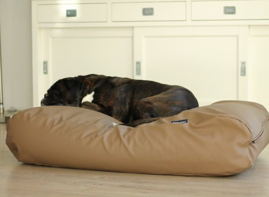 Hundebett Taupe Leather Look Superlarge