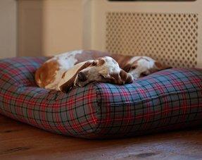 Lits pour chiens textile tissé (carreaux / rayé)