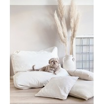 Lit pour chien Ivory leather look Large