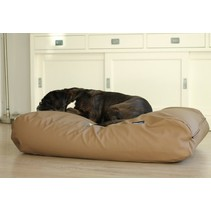 Lit pour chien Taupe leather look Medium