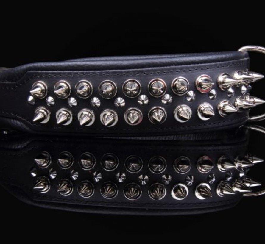 Leren halsband - met spikes - Zwart - 51-60 cm x 50 mm
