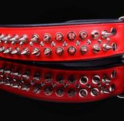 Dog's Companion Leren halsband - met spikes - Rood/Zwart - 51-60 cm x 50 mm