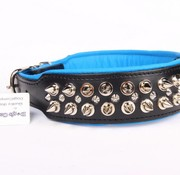 Dog's Companion Leren halsband - met spikes - Zwart/Blauw - 60-73 cm x 50 mm