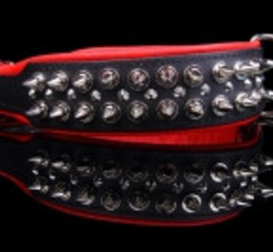 Leren halsband - met spikes - Zwart/Rood - 60-73 cm x 50 mm
