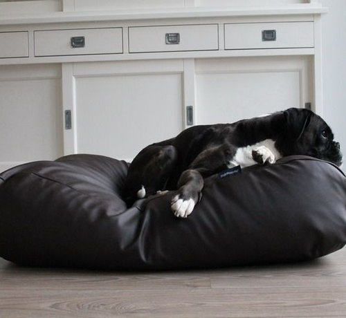 Dog's Companion Dog bed chocolate brown leather look Extra Small