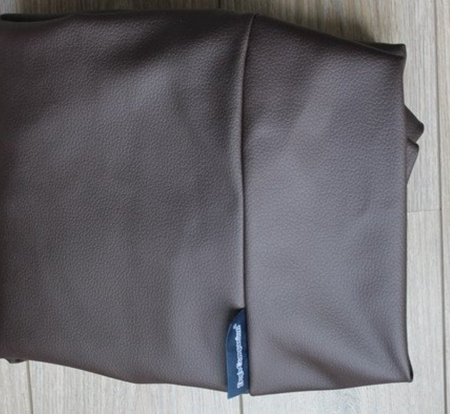 Dog bed chocolate brown leather look Small