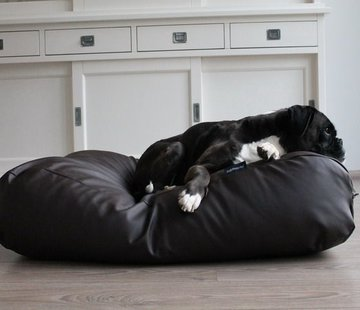 Dog's Companion Dog bed chocolate brown leather look Medium