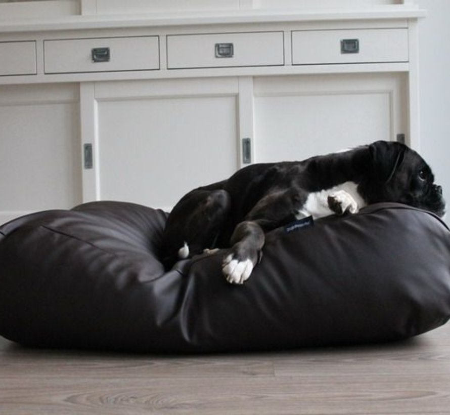 Dog bed chocolate brown leather look Large