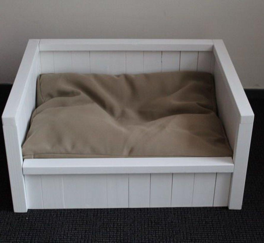 Dog bed bench cushion beige (65 x 50 x 10 cm)