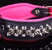 Dog's Companion Leren halsband - met spikes - 32-41 cm x 40 mm - Zwart/Roze