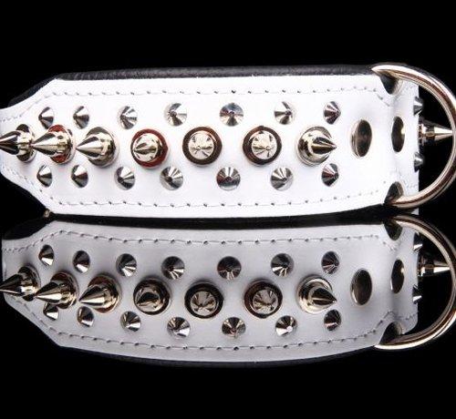 Dog's Companion Leren halsband - met spikes - 40-47 cm x 40 mm - Wit/Zwart