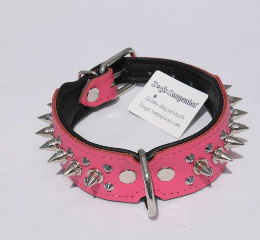 Leren halsband - met spikes - 32-41 cm x 40 mm - Roze/Zwart