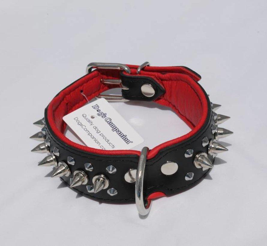 Leren halsband - met spikes - 32-41 cm x 40 mm - Zwart/Rood