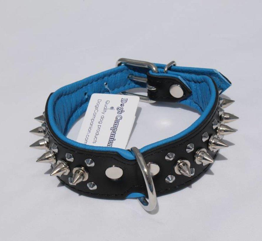 Leren halsband - met spikes - 40-47 cm x 40 mm - Zwart/Blauw