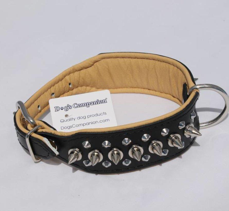 Leren halsband - met spikes - 45-53 cm x 40 mm - Zwart/Naturel