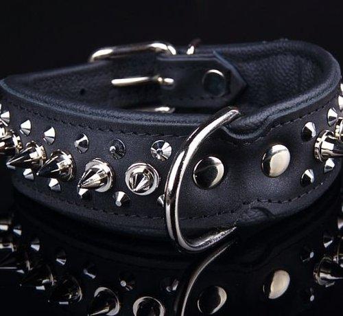 Dog's Companion Leren halsband - met spikes - 45-53 cm x 40 mm - Zwart