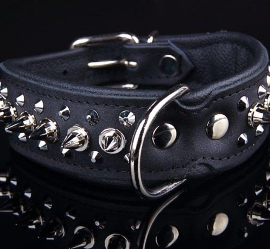 Leren halsband - met spikes - 45-53 cm x 40 mm - Zwart