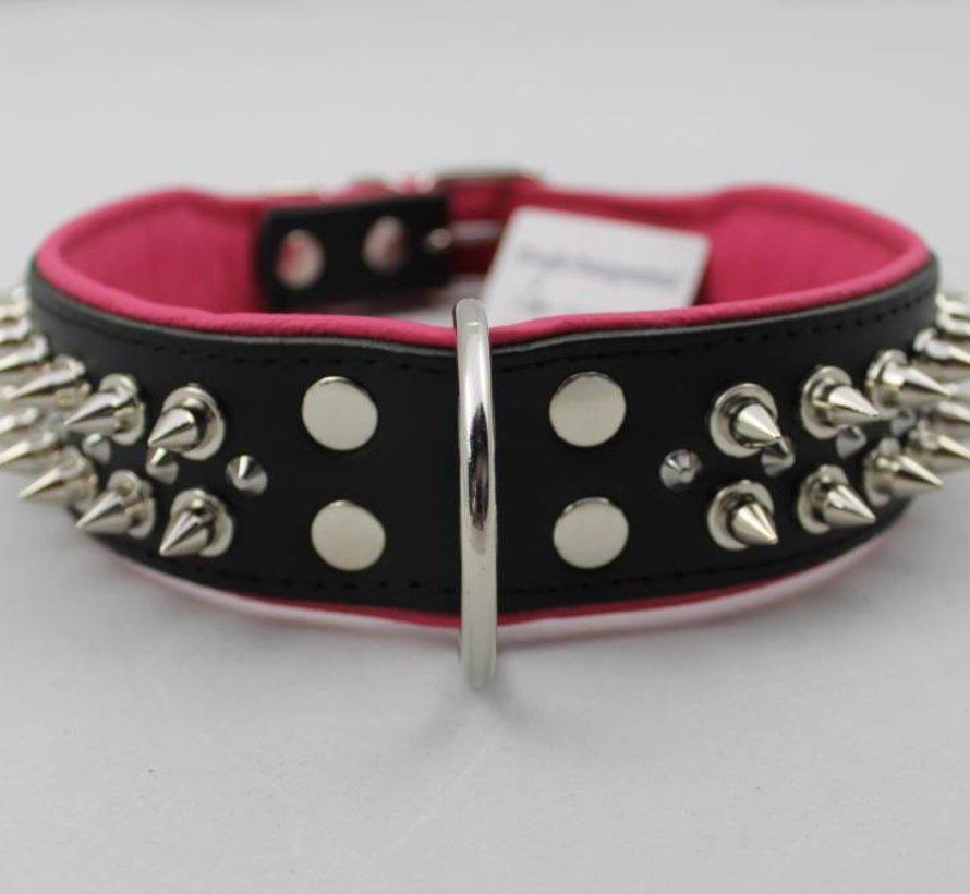 Leren halsband - met spikes - Zwart/Roze - 51-60 cm x 50 mm