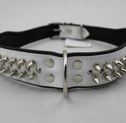 Dog's Companion Leren halsband - met spikes - Wit/Zwart - 51-60 cm x 50 mm