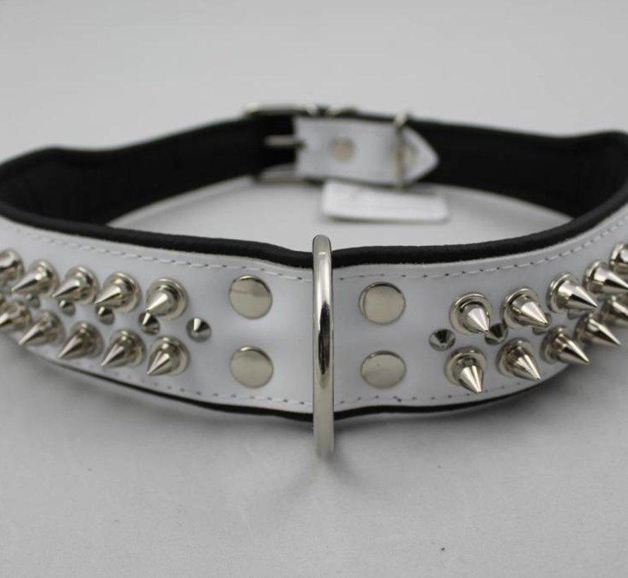 Leren halsband - met spikes - Wit/Zwart - 51-60 cm x 50 mm