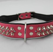 Dog's Companion Leren halsband - met spikes - Roze/Zwart - 51-60 cm x 50 mm
