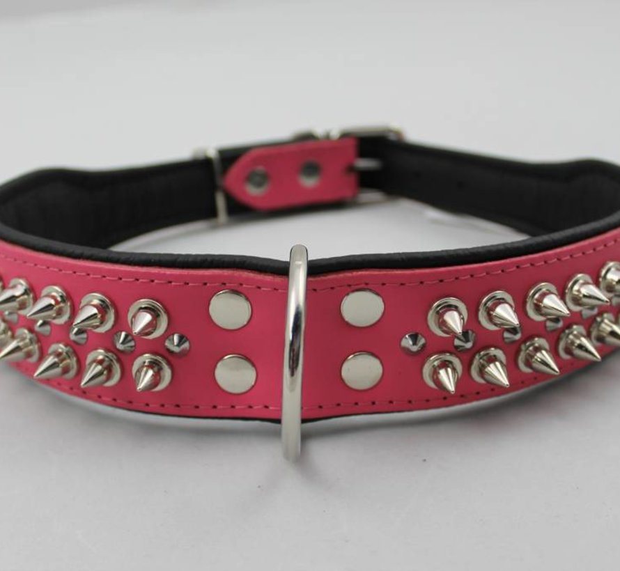 Leren halsband - met spikes - Roze/Zwart - 51-60 cm x 50 mm