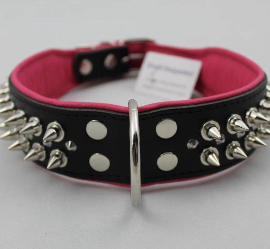 Leren halsband - met spikes - Zwart/Roze - 60-73 cm x 50 mm