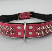 Dog's Companion Leren halsband - met spikes - Roze/Zwart - 60-73 cm x 50 mm